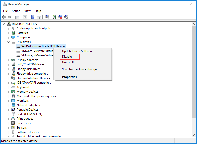 disable the drive which has