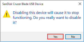 disabling the device will cause it to stop functioning