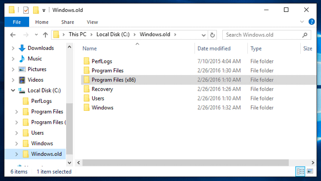 find Windows.old files