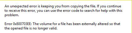 0x800703ee error occurs when copying files