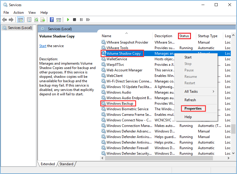 right click Volume Shadow Copy service in Services window