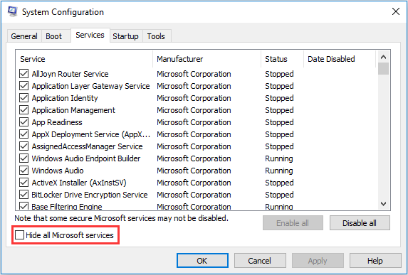 hide all Microsoft services in System Configuration
