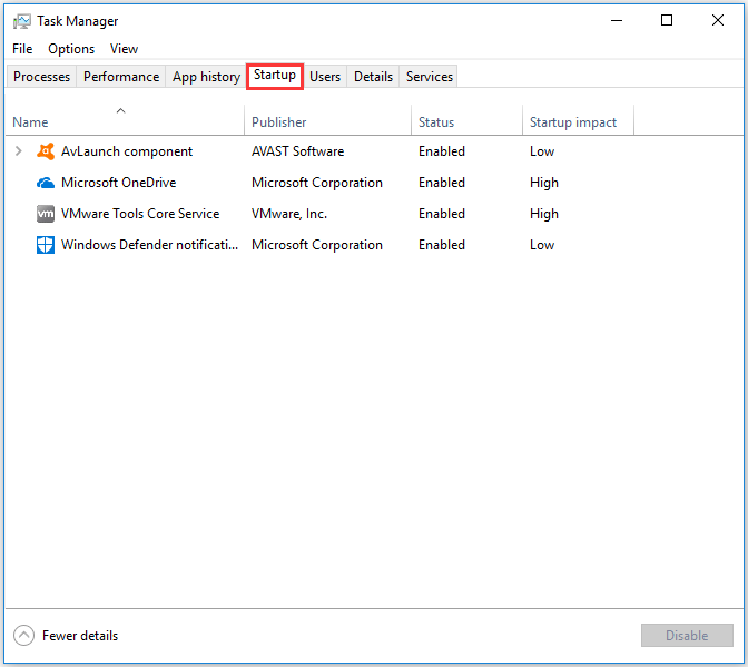 click Startup in the Task Manager window