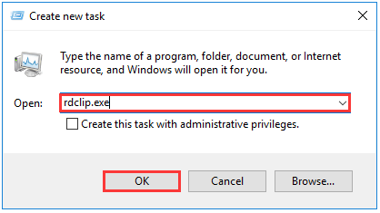 type rdclip.exe in the pop-up window