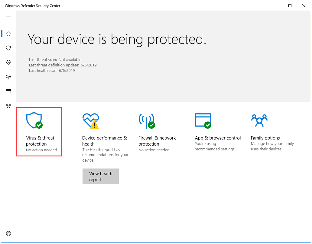 click Virus & threat protection on the Windows Defender Security Center window