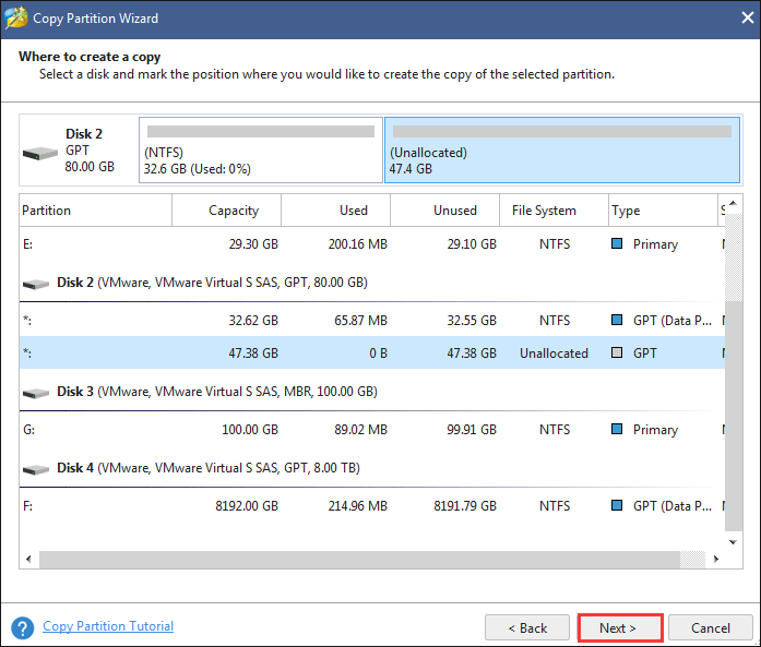 click Next after selecting an unallocated space as the target partition