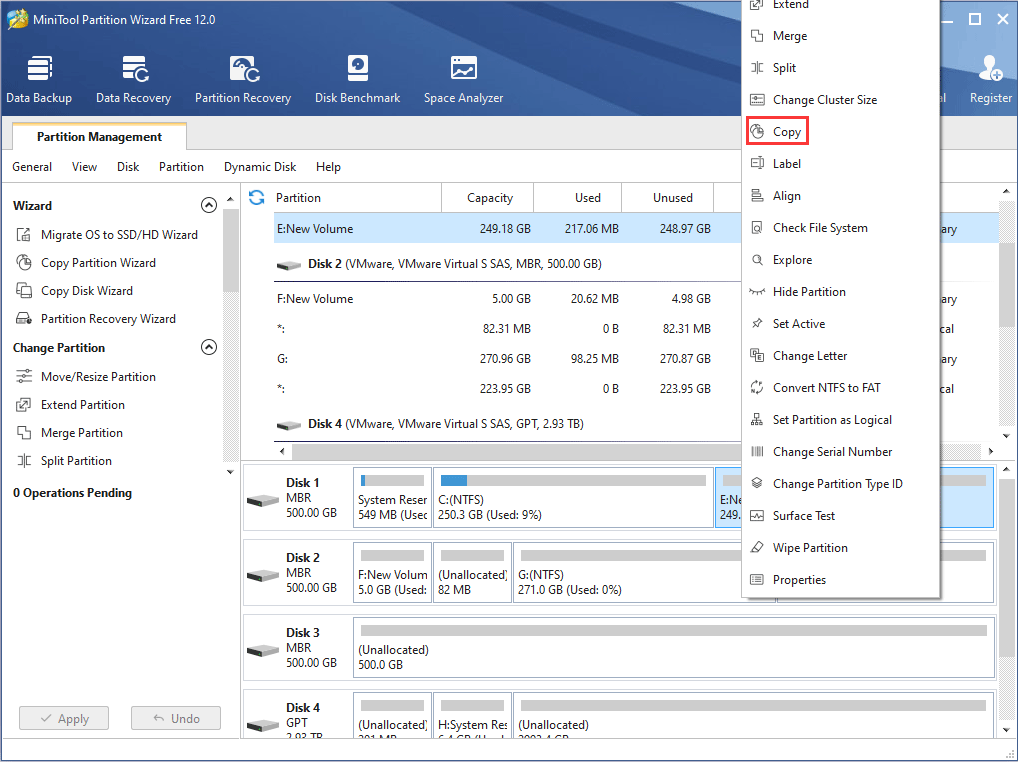 activate Copy Partition feature of MiniTool Partition Wizard