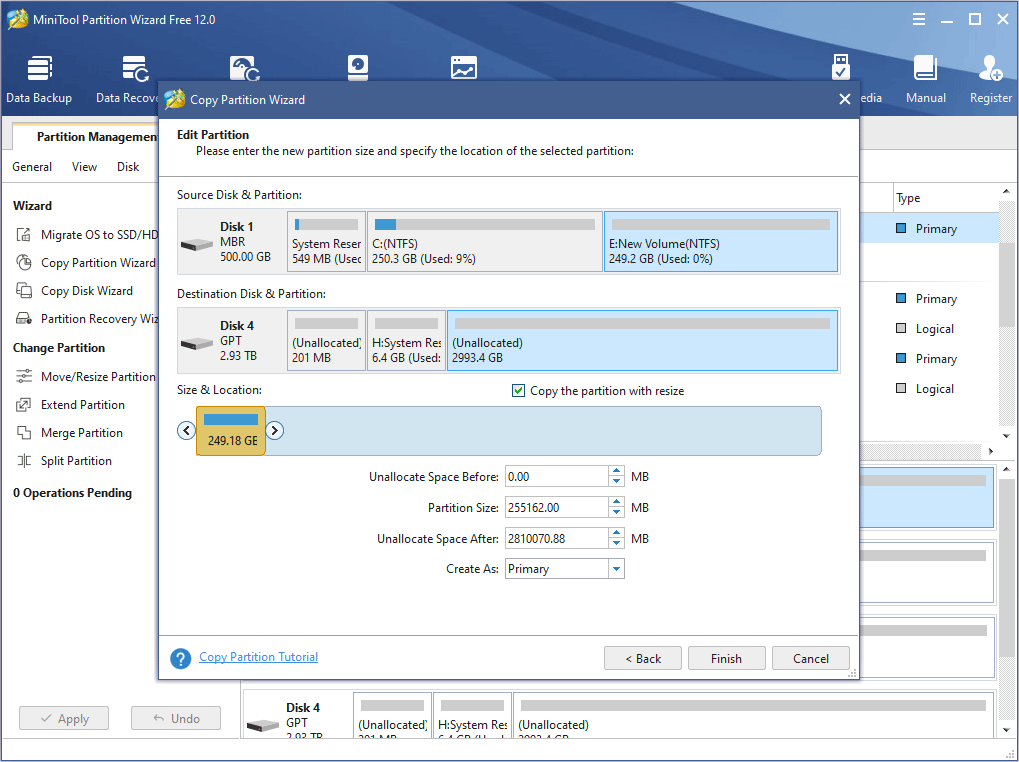 adjust the size and location of the new partition