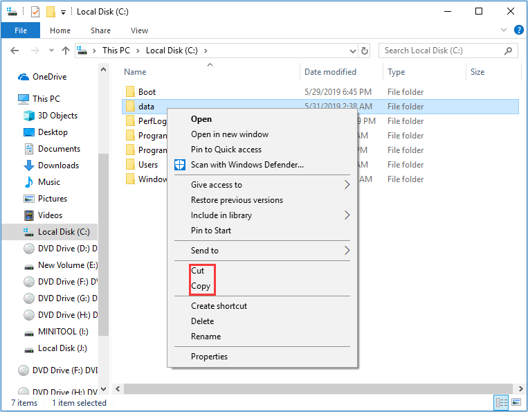 couper ou copier un fichier