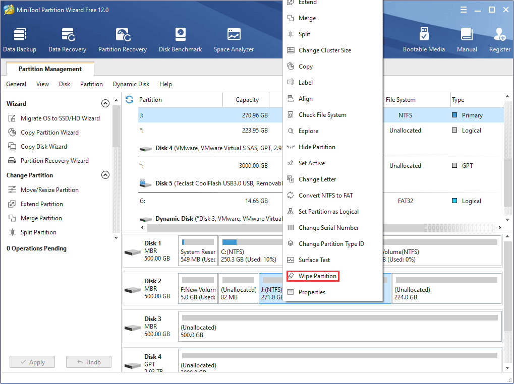 select Wipe Partition in MiniTool Partition Wizard