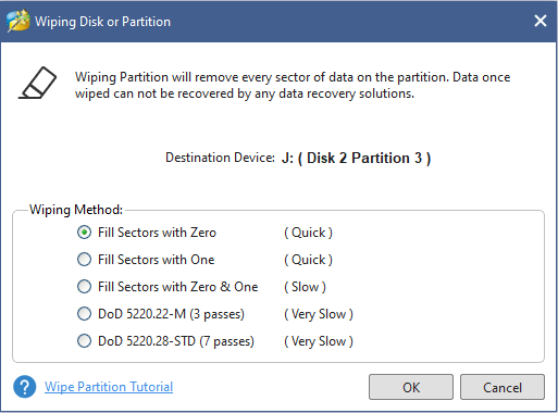 select wiping method