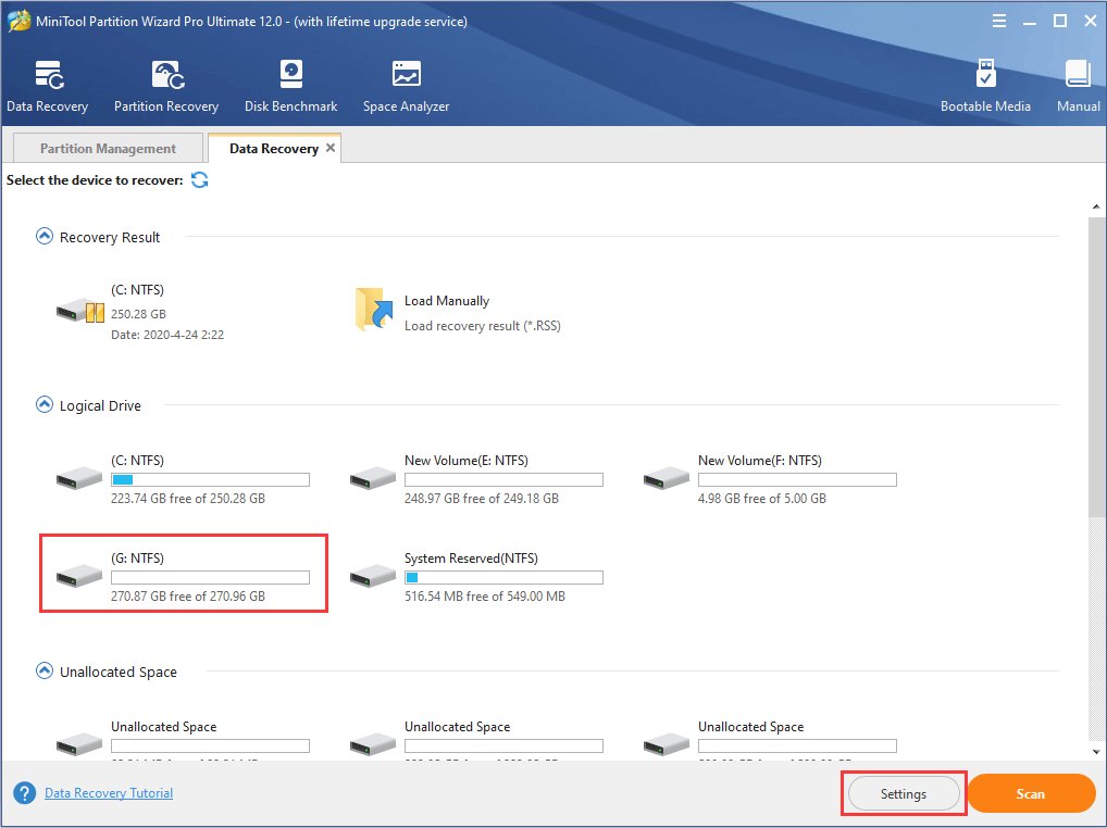 click formatted partition to start scanning