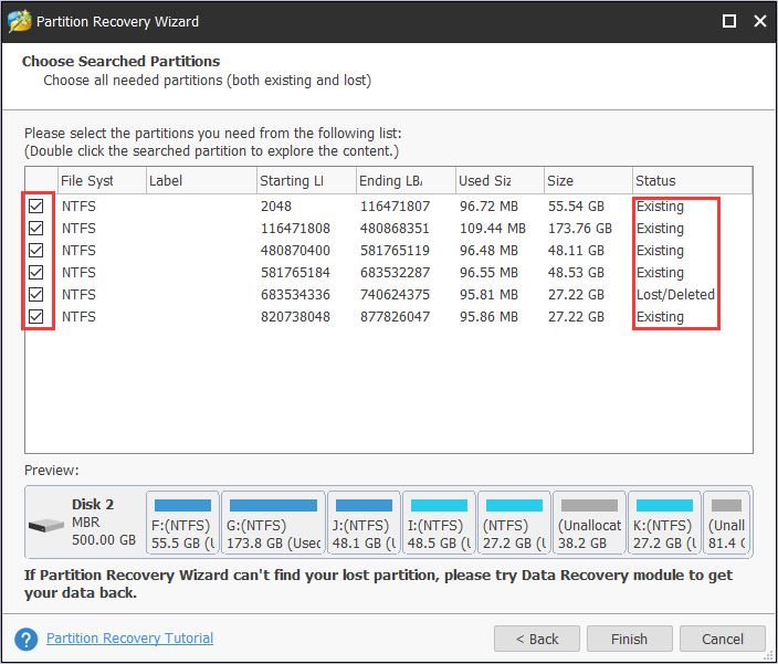 check the existing and lost partitions