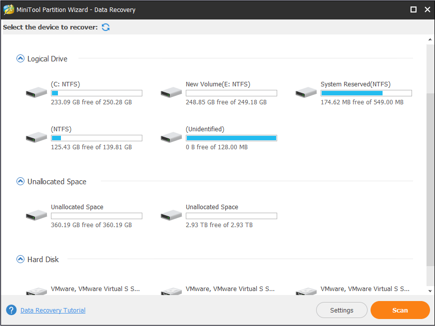 choose a partition and click Scan