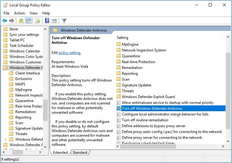 disable Windows Defender Antivirus in Local Group Policy Editor