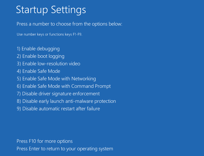 choose Enable Safe Mode option