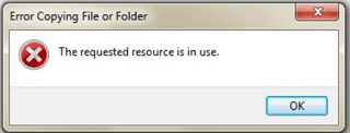 Error Copying File or Folder: The requested resource is in use