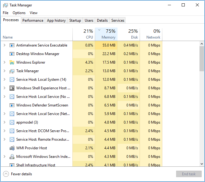antivirus program take up too much memory space