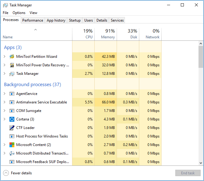 high memory usage on Task Manager