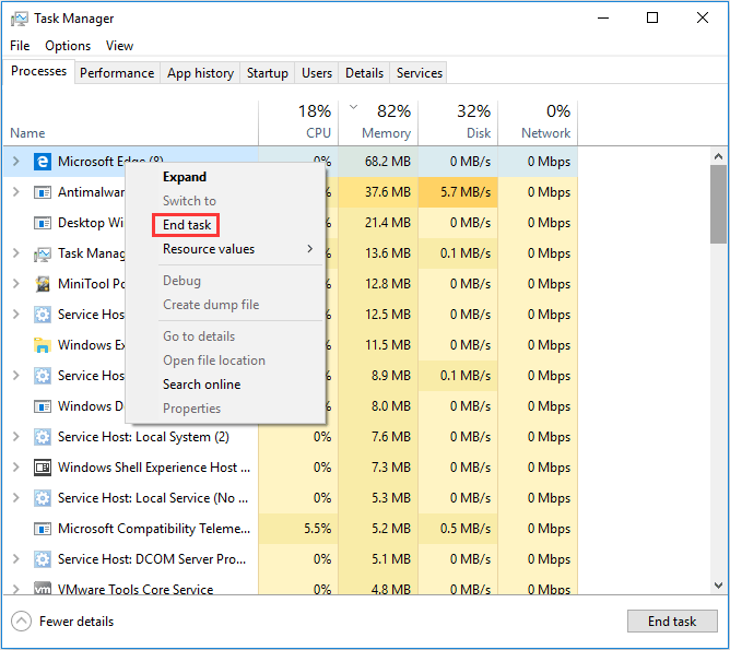 close apps in Task Manager