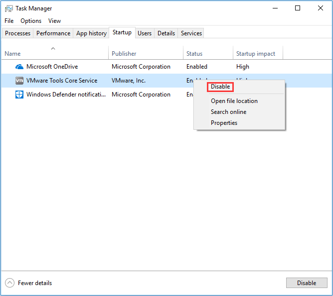 disable startup programs in Task Manager