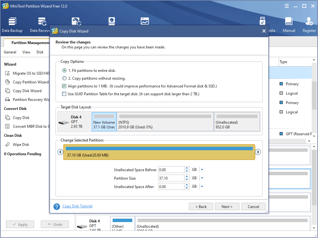choose copy options and adjust disk layout