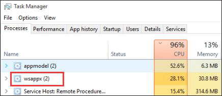 Task Manager shows that wsappx takes high disk usage