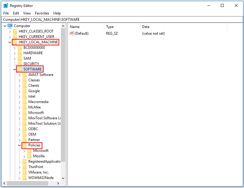 click the specified keys in the Registry Editor screen