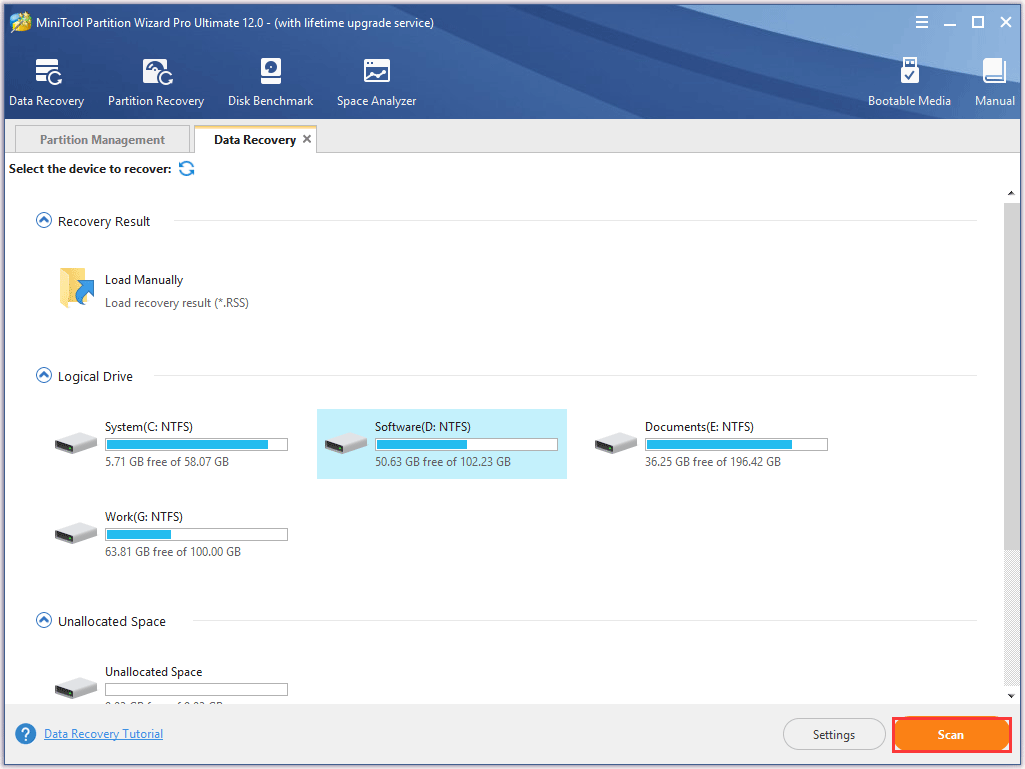 select one partition to recover the lost data