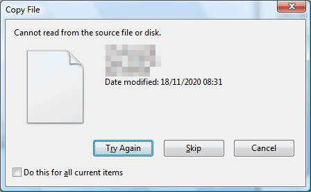 How to Fix: Can't Read from the Source File or Disk Error