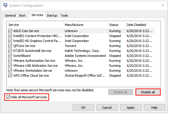 click Hide all Microsoft services and Disable all