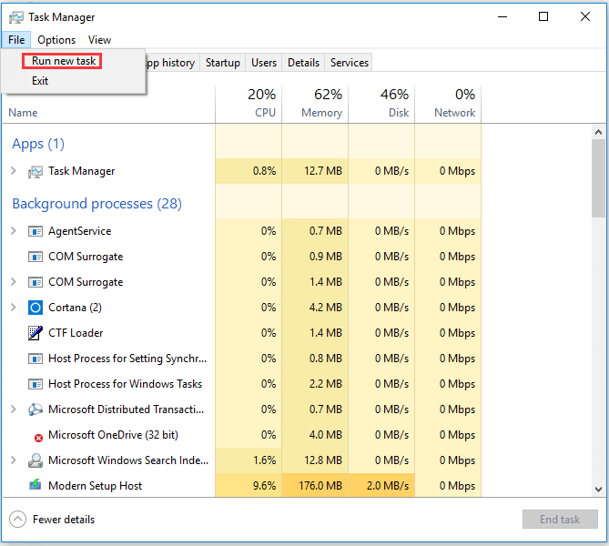 run as administrator from task manager