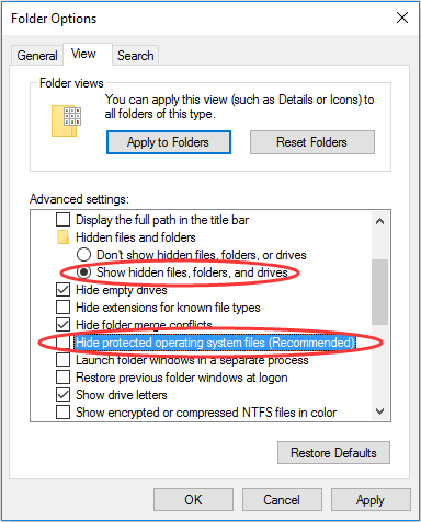 change the view settings of Folder Options