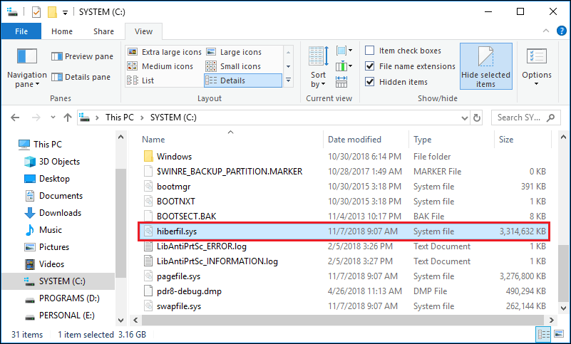 hiberfil.sys in Windows 10