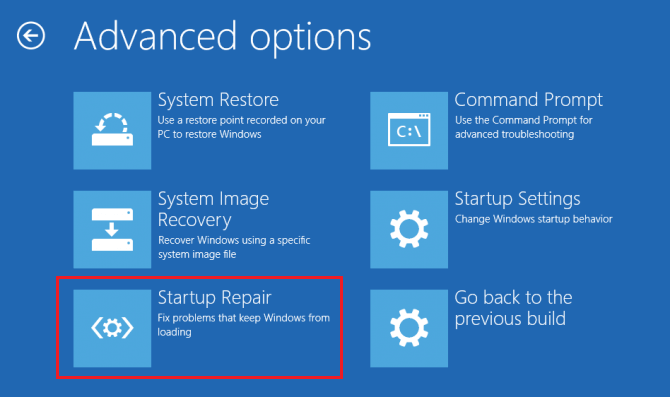 click Startup Repair in the Advanced Options