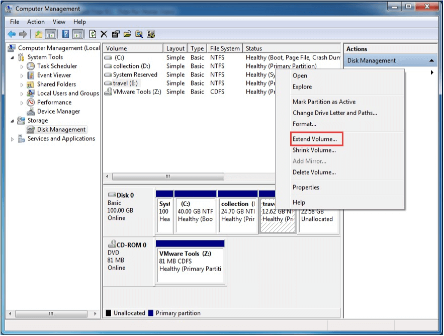 extend partition disk management