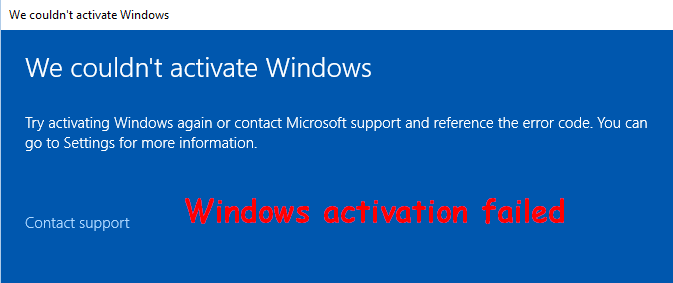 couldn't activate Windows
