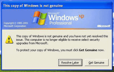 Windows XP not activated