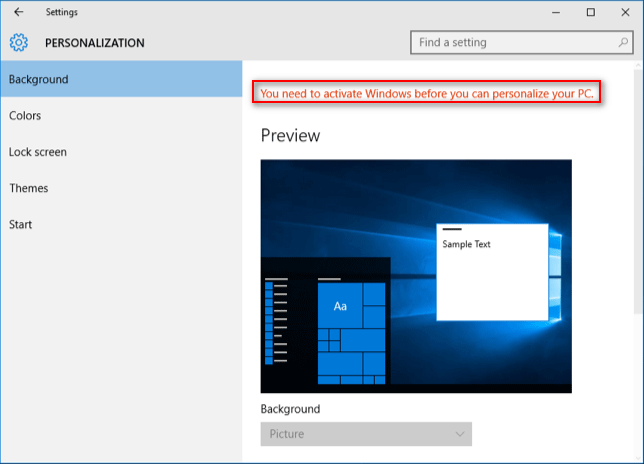 Windows 10 not activated
