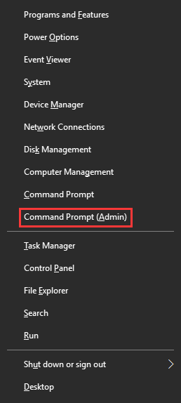 choose Command Prompt (Admin)