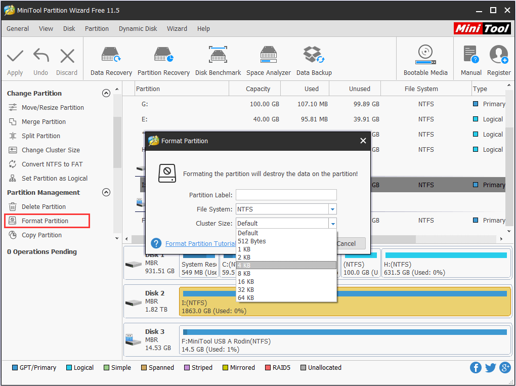 format partition to change cluster size
