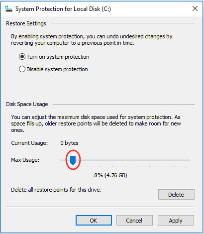 change the disk space allocated for System Protection