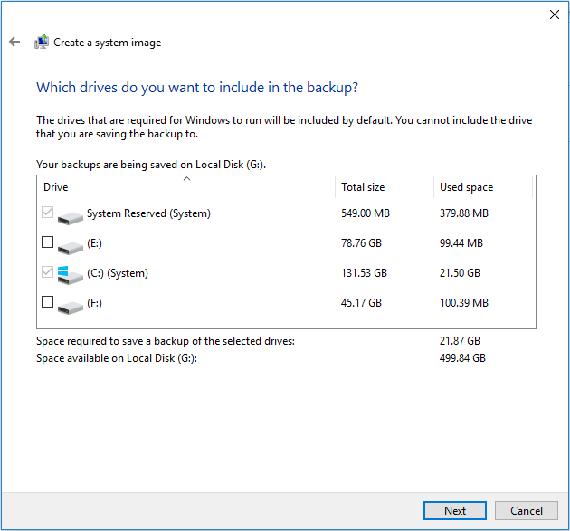 system related partitions are selected