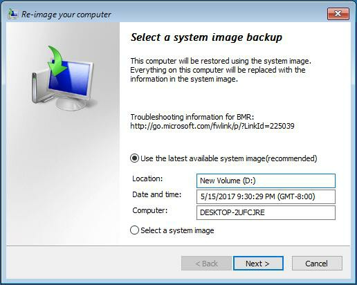 select a system image backup