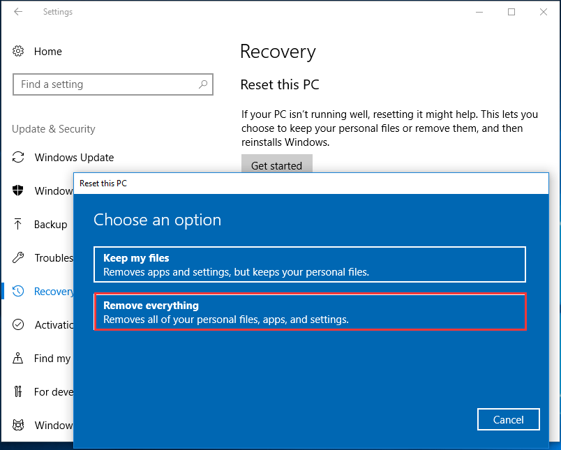 reset this PC remove everything