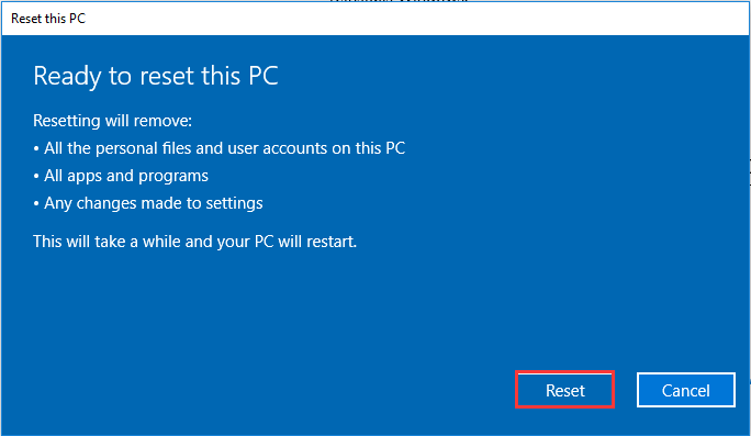 click reset to refresh PC