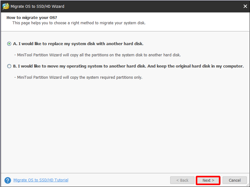 choose how to migrate the dynamic disk and click Next
