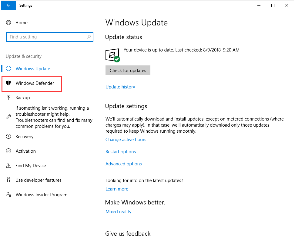 click the Windows Defender from the left panel