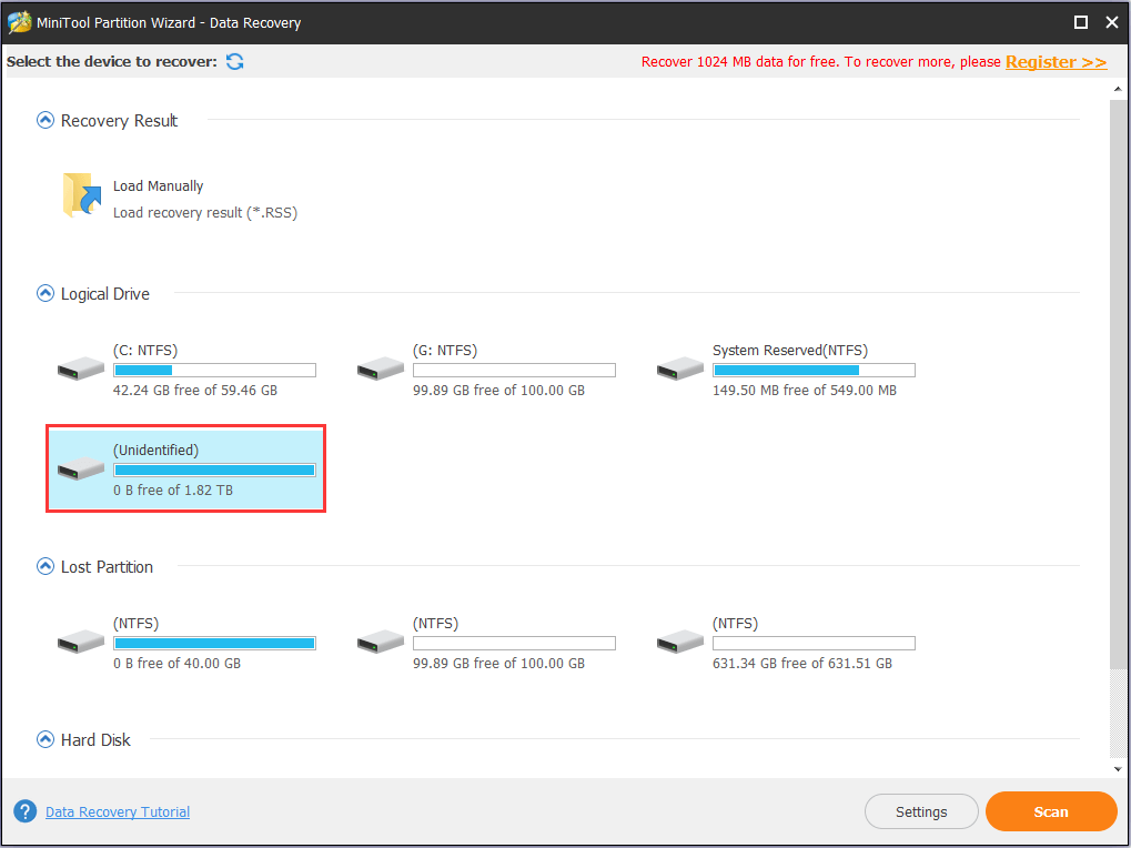 find the problem partition to have a scan