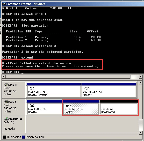 extend fat32 partition dm 1